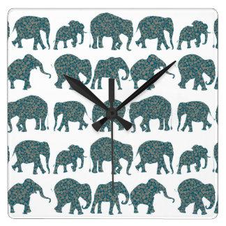 Rows of Paisley Elephants, White Custom Wall Clock