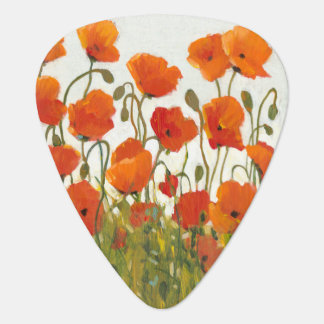 Rows of Poppies I Guitar Pick