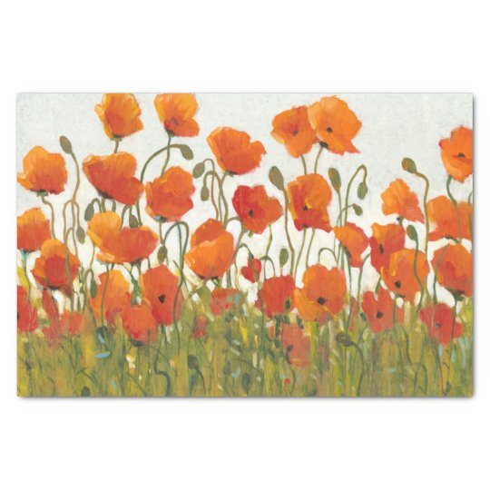 Rows of Poppies I Tissue Paper