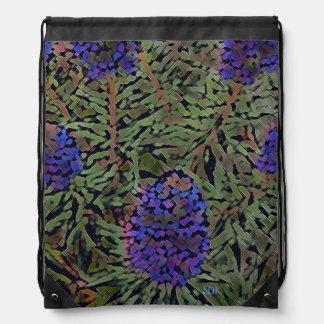 Rows of Purple California Lavender Plant Del Mar Drawstring Bags