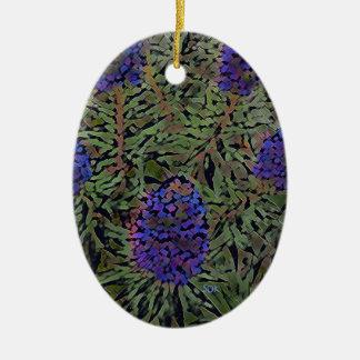 Rows of Purple California Lavender Plant  Del Mar Ceramic Oval Decoration