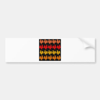 Rows of roosters bumper stickers
