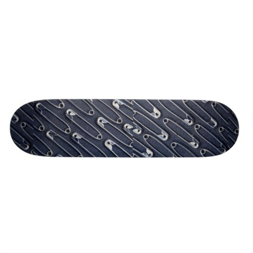 Rows of safety pins skateboard deck