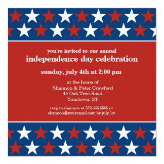 Rows of Stars Independence Day invitation
