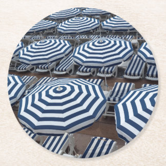 Rows Of Striped Beach Umbrellas With Sun Beds Round Paper Coaster
