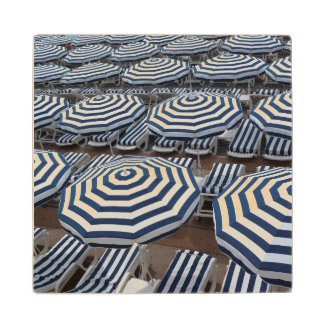 Rows Of Striped Beach Umbrellas With Sun Beds Wood Coaster