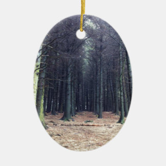 Rows of trees ceramic oval decoration