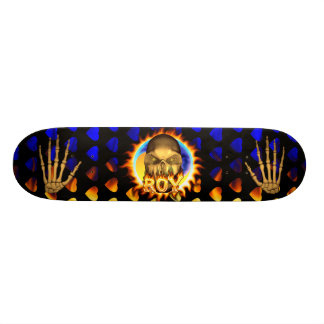 roy skull real fire and flames skateboard design