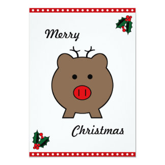 Roy the Christmas Pig 5x7 Paper Invitation Card