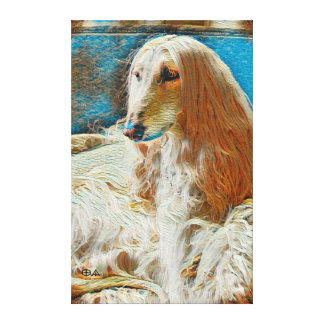 Royal Afghan Hound Oil Portrait Canvas Print