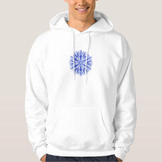 Royal and Mid Blue Winter Snowflake Fractal Hoodie