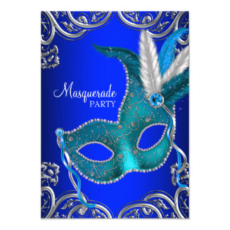 Royal and Teal Blue Masquerade Party 13 Cm X 18 Cm Invitation Card
