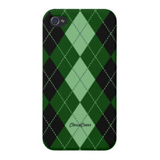 Royal Argyle Black Green Pattern Savvy iPhone 4 Covers