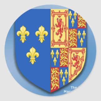 ROYAL ARMS OF MARY QUEEN OF SCOTS FRANCE AND ENGLA ROUND STICKERS