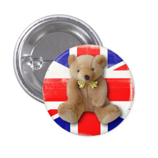 Royal Baby 2013 Union Jack and Teddy Bear button