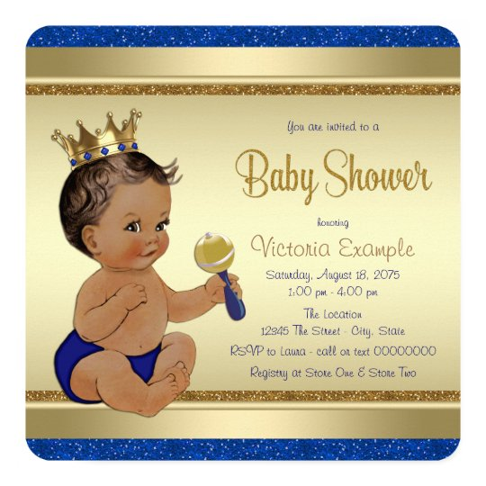 Royal Baby Boy Blue Gold Ethnic Prince Baby Shower Card