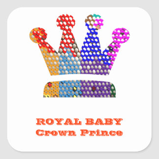 Royal BABY Crown PRINCE Square Stickers