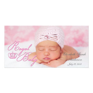 Royal Baby in Pink With Vintage Crown Photo Card Template