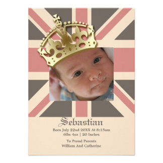 Royal Baby New Baby With Crown Personalized Invitation