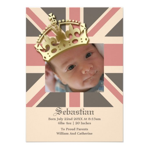 Royal Baby Gifts Uk : Royal baby new with crown cm invitation