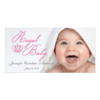 Royal Baby Pink With Crown Customized Photo Card