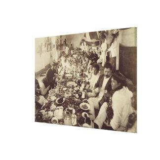 Royal Banquet at King Kalakana's Boat House, c.187 Stretched Canvas Print