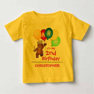 Royal Bear 2nd Birthday Party Custom Baby T-Shirt
