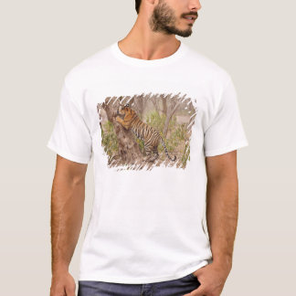 Royal Bengal Tiger climbing up the tree, T-Shirt