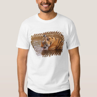 Royal Bengal Tiger drnking water in the jungle Tshirts