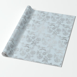 Royal Birds of paradise Blue Silver Roses Glam Wrapping Paper