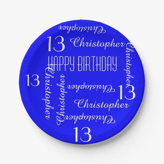 Royal Blue 13th Birthday Party Repeating Names Paper