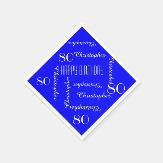 Royal Blue 80th Birthday Party Repeat Names, Paper