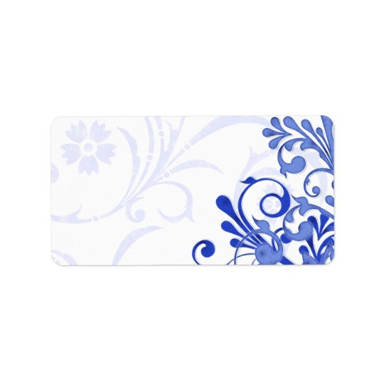 Royal Blue Abstract Floral Wedding Blank Address Label