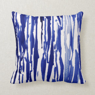 Royal Blue Abstract Stripes Cushion