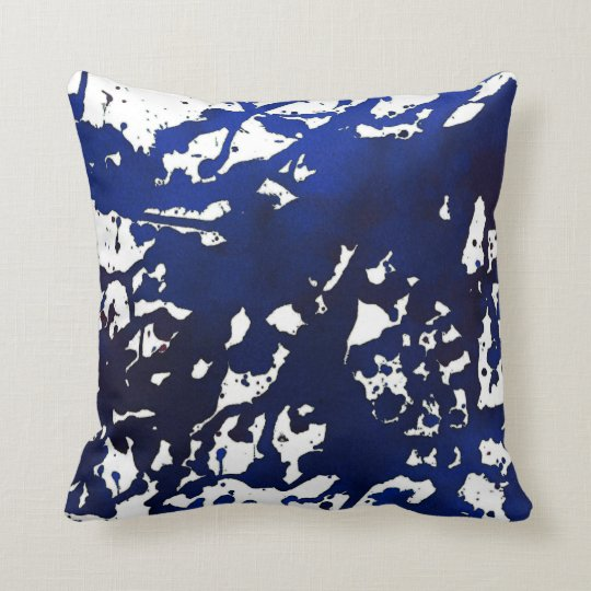 Royal Blue Abstract Watercolor Pillow
