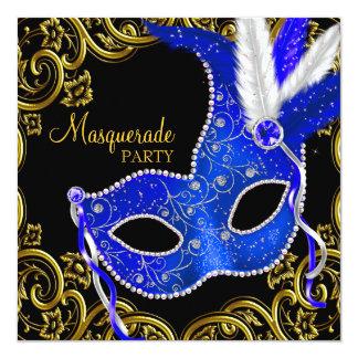 Royal Blue and Black Masquerade Party Card