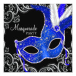 Royal Blue and Black Masquerade Party Custom Announcement