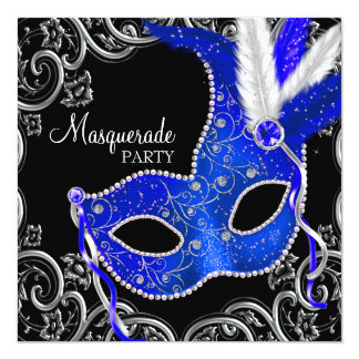 Royal Blue and Black Masquerade Party Announcements