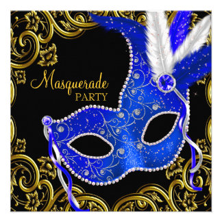 Royal Blue and Black Masquerade Party Personalized Announcement