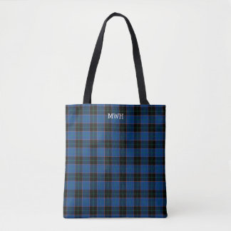 Royal Blue and Black Plaid Hume Tartan Monogram Tote Bag