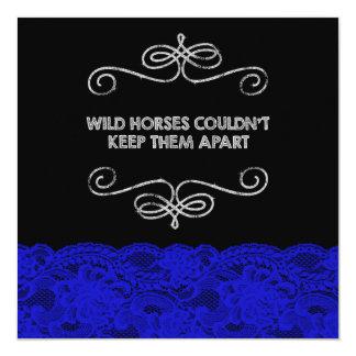 Royal Blue  and Black Vintage Chalkboard Wedding 13 Cm X 13 Cm Square Invitation Card