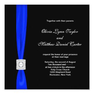 Royal Blue and Black Wedding 13 Cm X 13 Cm Square Invitation Card