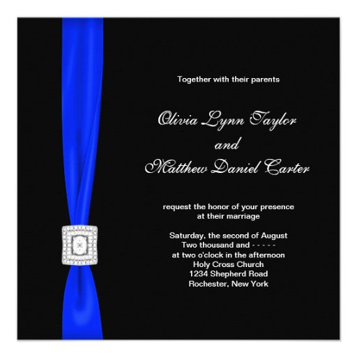 Royal Blue and Black Wedding Custom Announcements