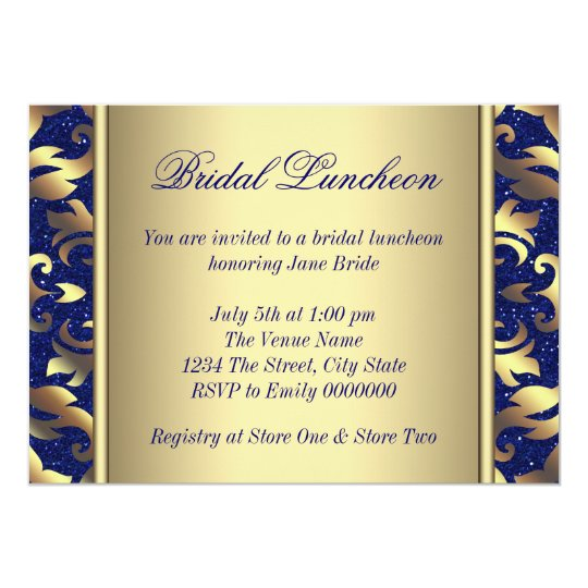 Royal Blue and Gold Bridal Luncheon Card