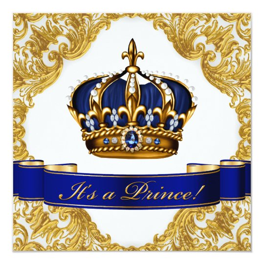 Royal Blue and Gold Crown Prince Baby Shower Card Zazzlecouk