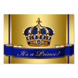 Royal Blue and Gold Crown Prince Baby Shower Personalized Announcements