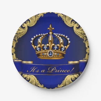 Royal Blue and Gold Crown Prince Baby Shower Paper Plate