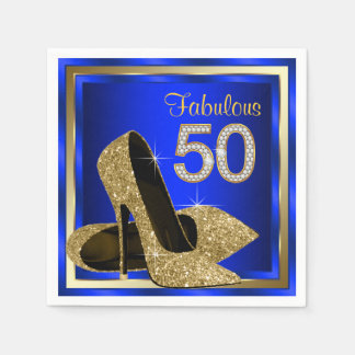 Royal Blue and Gold High Heel 50th Birthday Party Paper Napkin
