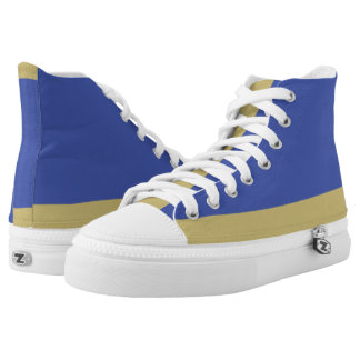 Royal Blue and Gold Low-Stripe Hi-Top Printed Shoes