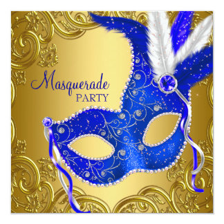 Royal Blue and Gold Masquerade Party 13 Cm X 13 Cm Square Invitation Card
